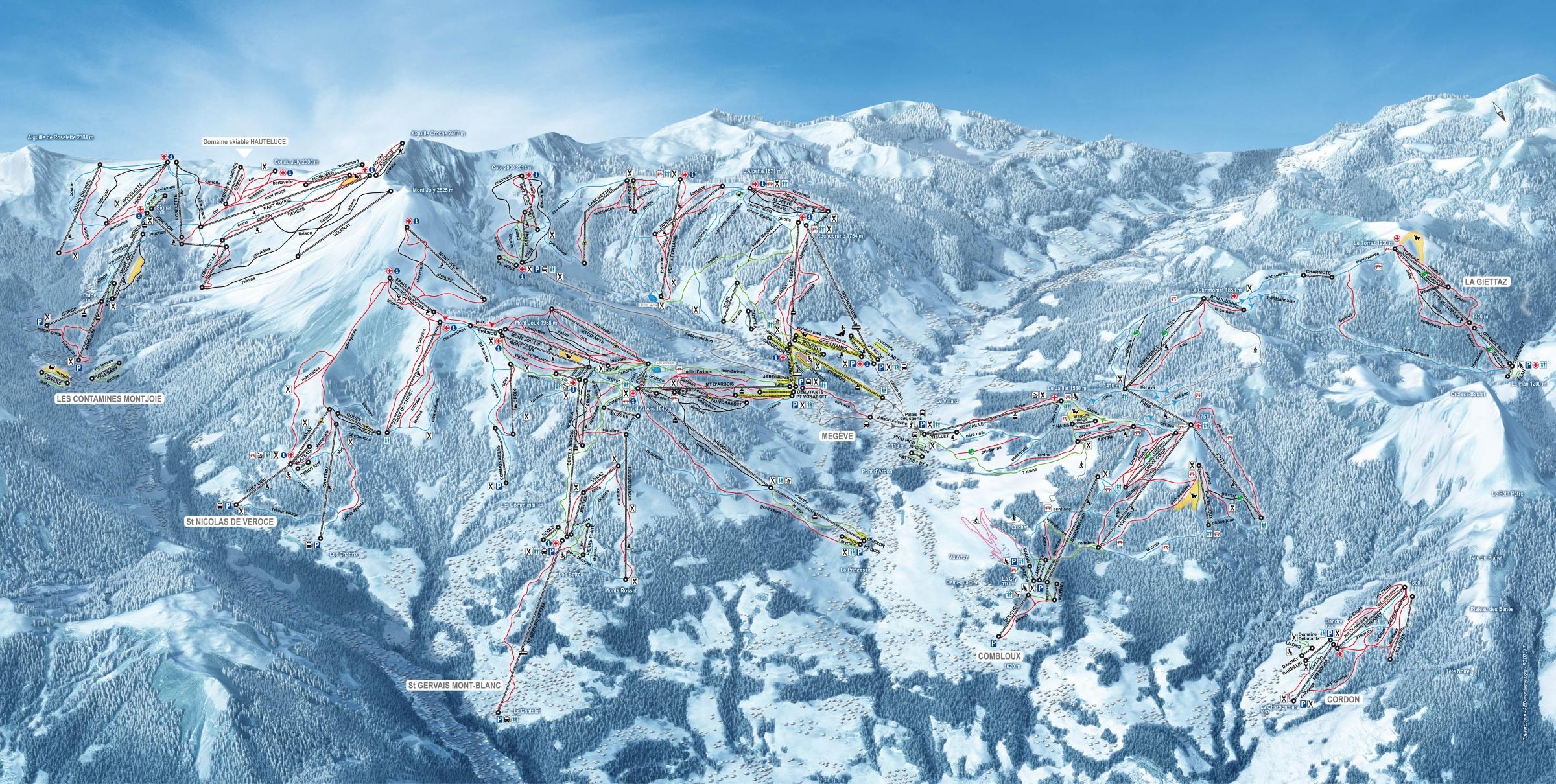 Sítérkép: Mont Blanc - 445km