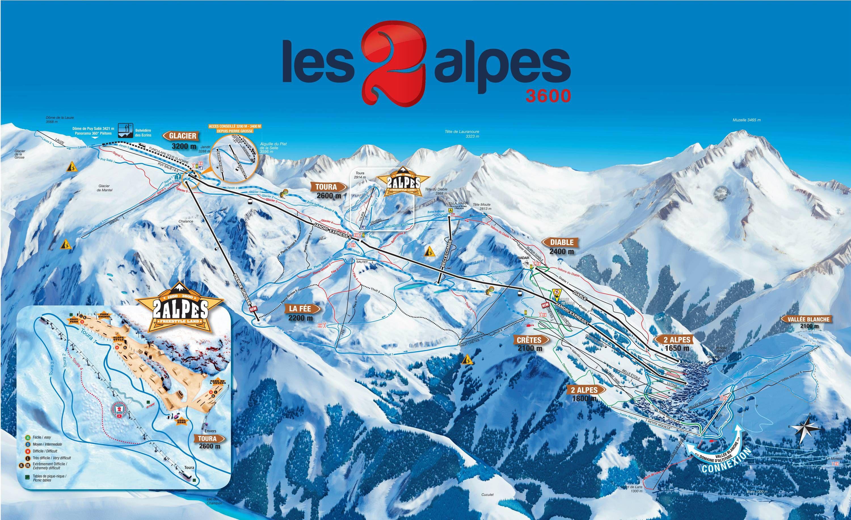 Sítérkép: Les 2 Alpes - 225km